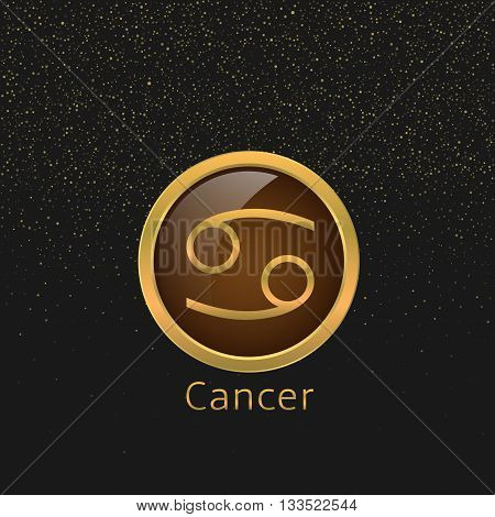 Cancer Zodiac sign. Cancer abstract symbol. Cancer golden icon