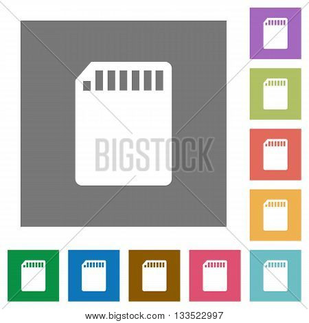 SD memory card flat icon set on color square background.