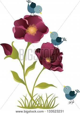 Scalable vectorial image representing a flower with birds, isolated on white.