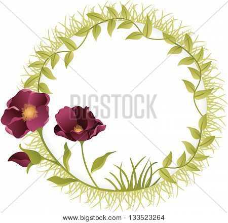 Scalable vectorial image representing a round frame flower, isolated on white.