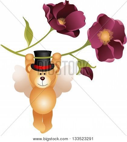 Scalable vectorial image representing a teddy bear flying with flower, isolated on white.