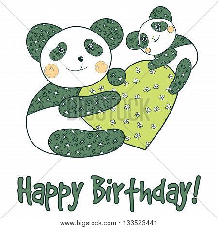 Panda With Heart Happy Birthday Card.