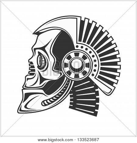 Robotic Skull - head profile isolated on white background
