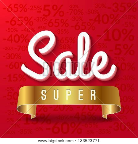 Super sale, mega sale red banner with golden ribbon. Vector EPS 10.