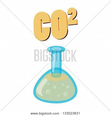 Carbon dioxide in test flask, CO2 icon in cartoon style on a white background