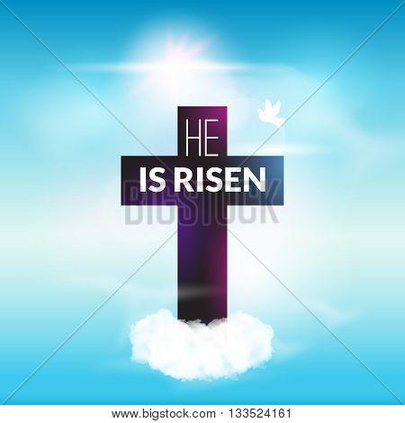 Easter christian celebration He is risen vector background.