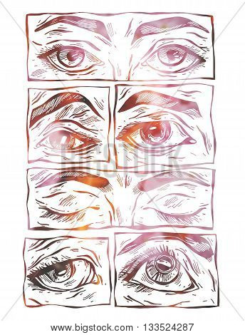 Sketchy female eyes collection set.Sketchy hand drawn female eyes on white background.Eye icon set.
