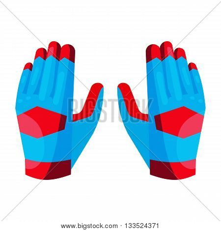 Gloves of the goalkeeper icon in cartoon style on a white background