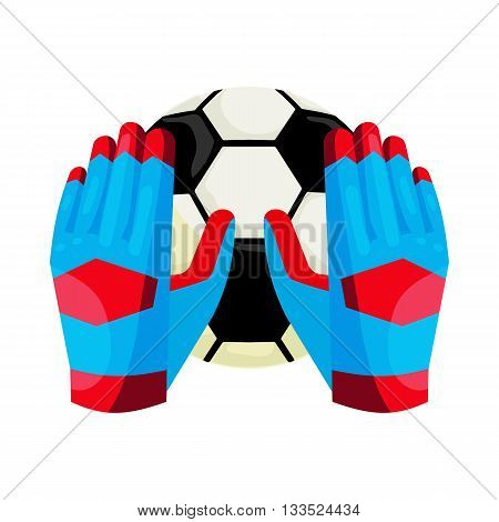 Goalkeeper gloves and a ball icon in cartoon style on a white background