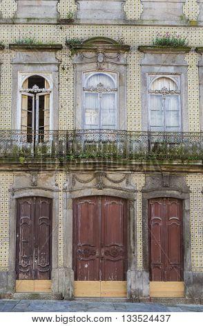 Three Door Of An Old Building In Braga