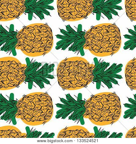 Hand drawn vector seamless pattern with pineapples in yellow and green colors on white background.Vector tropical bright summer illustration of fruit pineapple.