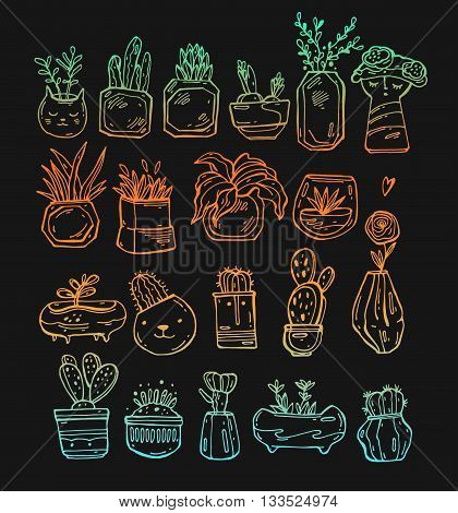 Vector collection of linear cactus and plants in hand drawn style. Green plant flower and nature floral and exotic wild botany tropical illustration.Bright gradient colors on black background.