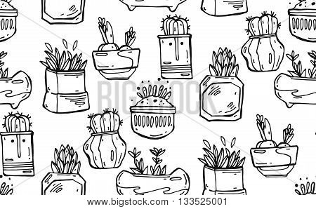 Seamless hand drawn vector pattern with cactus. Pattern of cactus. Cacti in pots. Vector background. Cute cartoon cactus pattern.Black and white.