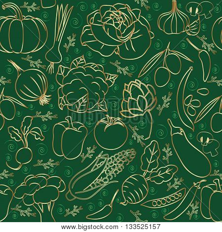 Seamless pattern with vegetables. Gold hand draw on the green background. Cabbage, eggplant, garlic, onion, turnip, beet, tomatoes, corn, peppers,green, squash, broccoli, cauliflower, beans, green beans, mushrooms.