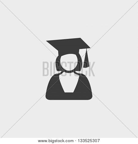 Graduation student icon girl in a flat design in black color. Vector illustration eps10