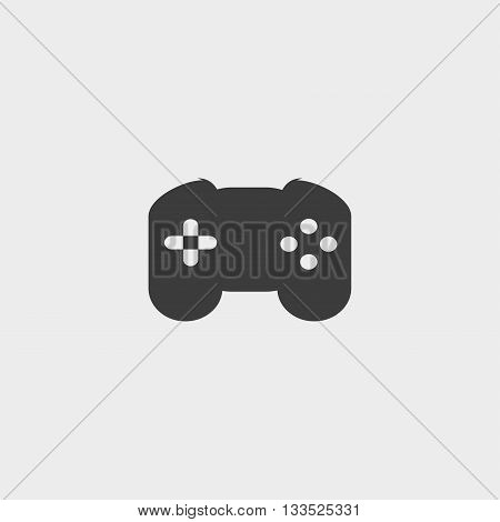 Game controller icon in a flat design in black color. Vector illustration eps10