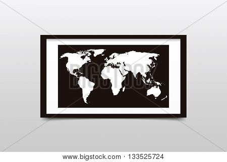 World map on a black frame. Vector illustration