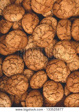 Cookies background. Sweet oatmeal homemade biscuits and cookies texture background.