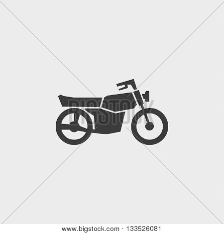motorcycle icon in a flat design in black color. Vector illustration eps10