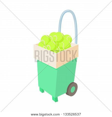 Basket for keep tennis balls icon in cartoon style on a white background