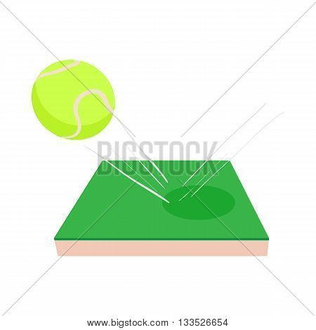 Flying tennis ball on a green court icon in cartoon style on a white background