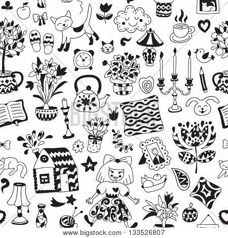 Home sweet home. Seamless vector pattern with home interior doodles. Beautiful vector design.