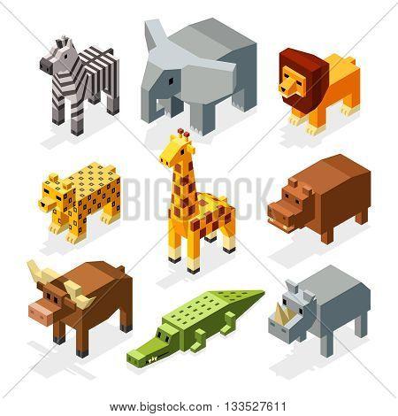 Cartoon 3D isometric african animals. Vector characters set. Animal wild safari, mammal giraffe in wildlife. Animal set illustration