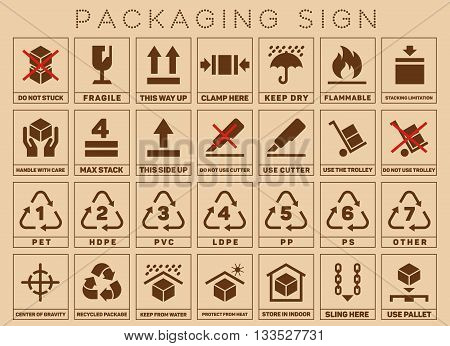 Packaging signs or packaging symbols. Packaging symbol standard and care pack. Vector illustration
