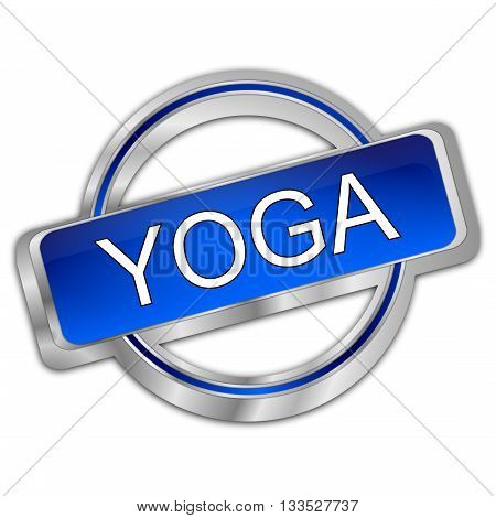 silver blue Yoga button - 3d Illustration
