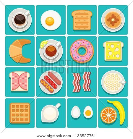 Breakfast food and drinks vector flat icons. Coffee of cup with sausage breakfast. Restaurant breakfast egg sandwich and tea illustration