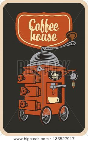 surreal coffee grinder with cup on wheels in a retro style