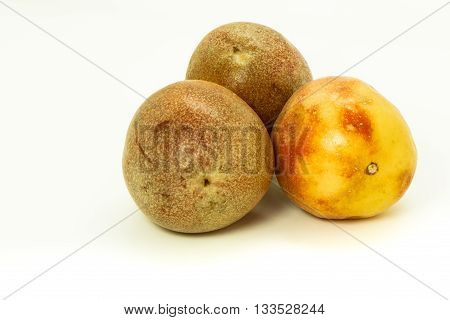 Closeup of passion fruits isolated on white