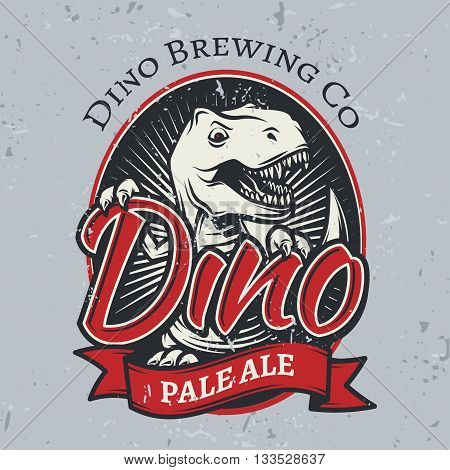T-rex brewery insignia design. Pale ale label template. Vector dinosaur craft beer logo concept. Vintage cretaceous period illustration. Tyrannosaurus T-shirt badge on grunge background.