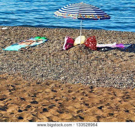 Rock Sea     And     Beach   In  Europe Greece The Mykonos Island   Blue Sky