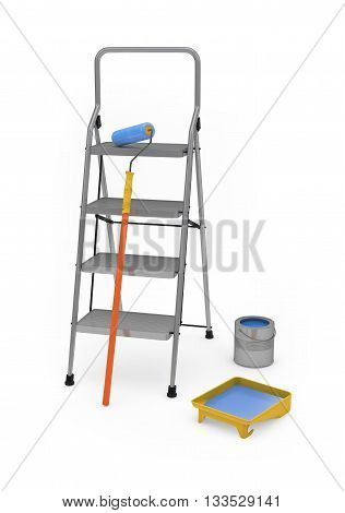 Painter's equipment isolated on white with clipping path. 3d rendering