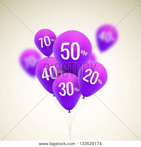 Balloons Discount. SALE concept for shop market store advertisement commerce. Market discount, purple balloon, sale balloons. Vector business concept