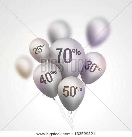 Silver Baloons Discount. SALE concept for shop market store advertisement commerce. Market discount, balloon, sale balloons. Vector business concept