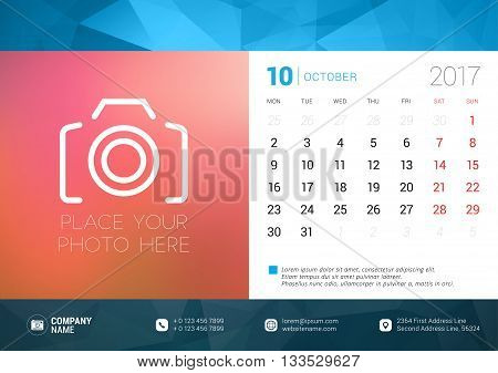 Desk Calendar Template For 2017 Year. October. Design Template With Place For Photo. Week Starts Mon