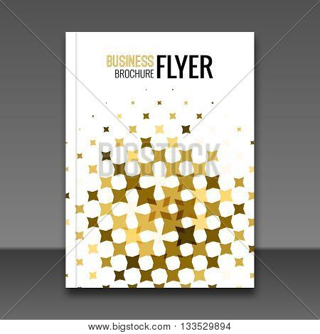 Gold Flyer design template, Greeting Card Design. Golden Dust. Vector Illustration. Brochure cover booklet Template. Place for your Text .