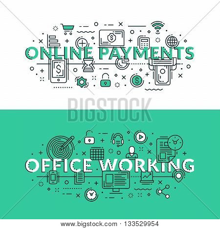 Online Payments And Office Working Related Icons. Colored Flat Vector Illustration In Seagreen And W