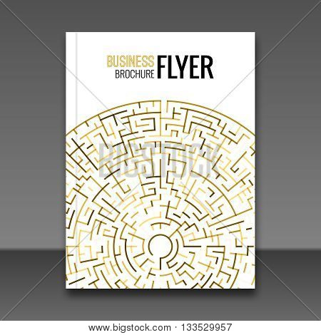 Gold Flyer maze design template, Greeting Card Design. Golden Dust. Vector Illustration. Brochure cover booklet Template. Place for your Text.