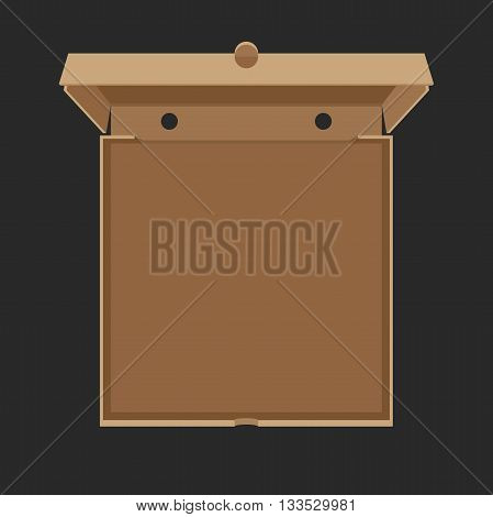 Opened cardboard box for Pizza. Vector flat illustration of pizzas box.