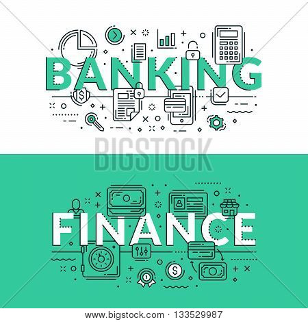 Banking And Finance Concept. Colored Flat Vector Illustration In Seagreen And White Colors.