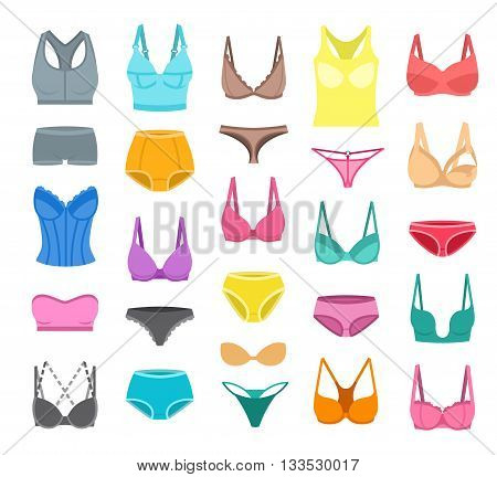 Bra design and panties styles vector flat colorful icons set. Female underwear cartoon collection. Lingerie fashion infographic elements. Woman wardrobe garments. Various clothes isolated symbols