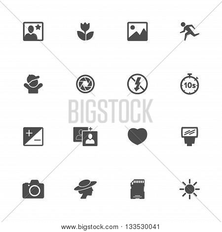 foto flat icon black set of 16