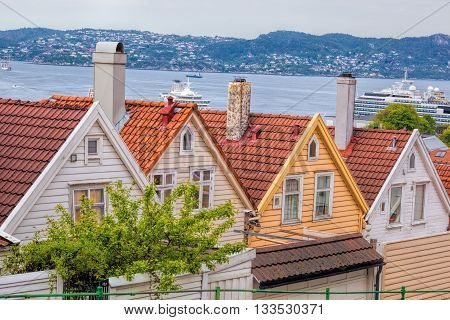 Typical Old Houses In Bergen. Unesco World Heritage Site, Norway