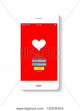 mobile interface red background and white heart icon