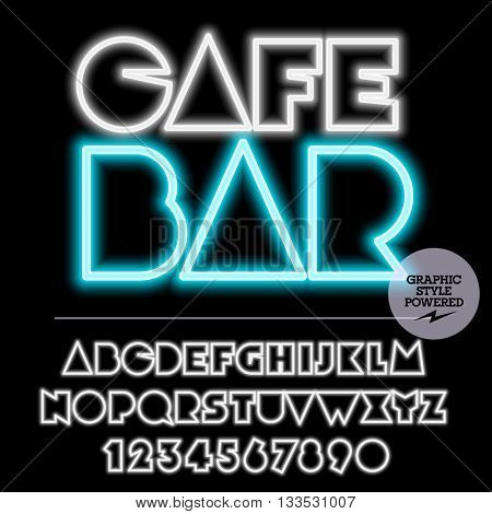 Neon bright set of alphabet letters, numbers and punctuation symbols. Vector light up colorful icon with text Cafe bar