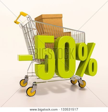 3d render: shopping cart and green 50 percentage discount sign on white, sale 50%