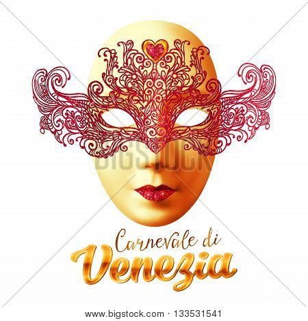 Golden vector carnival mask with red lacy top and Carnivale di Venezia sign